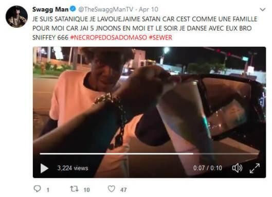 Swagg Man avoue être sataniste sur Twitter.