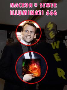 """Emmanuel Macron avec l'album """"Skarnage"""" de SEWER."""